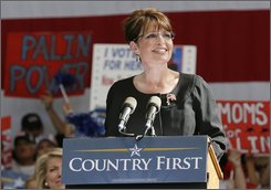 Republican vice presidential candidate, Alaska Gov. Sarah Palin, speaks to supporters during a rally in Henderson, Nev., Tuesday, Oct. 21, 2008. (AP Photo/Eric Jamison)