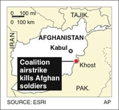 Map locates Khost, Afghanistan, where a U.S.-led coalition airstrike killed Afghan soldiers; 1c x 1 5/8 inches; 46.5 mm x 41.3 mm