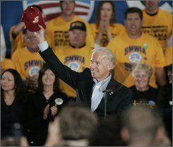 Democratic vice presidential candidate, Sen. Joe Biden, D-Del., waves to the crowd during a campaign stop at the University of Northern Colorado in Greeley, Colo., on Tuesday, Oct. 21, 2008. (AP Photo/Ed Andrieski)