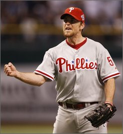 Philadelphia Phillies' Brad Lidge reacts after the final out in the ninth inning of Game 1 of the baseball World Series against the Tampa Bay Rays in St. Petersburg, Fla., Wednesday, Oct. 22, 2008. The Phillies won 3-2 to take a 1-0 lead in the series. (AP Photo/Chris O'Meara)