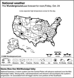 The forecast for noon, Friday, Oct. 24, 2008 shows a storm system over the Central Plains will advance eastward over the Mid-Mississippi Valley. Strong winds, cold temperatures and showers will accompany the system's progression. An associated front will trigger storms over portions of the Southeast. (AP Photo/Weather Underground)