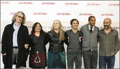 "From left, directors of the documentary ""8"", Wim Wenders, Mira Nair, Jane Campion, Gael Garcia Bernal, Abderrahmane Sissako, and Gaspar Noe' pose during a photo-call at the third edition of the Rome International Film Festival, in Rome, Thursday, Oct. 23, 2008. The third edition of the Rome film festival is scheduled to run until Oct. 31. (AP Photo/Alessandra Tarantino)"
