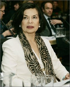 """Seen in this Tuesday Dec. 4, 2007 picture, Bianca Jagger, of the World Future Council, attends the Vienna Conference on Cluster Munitions, in Vienna. New York's top court upheld Bianca Jagger's eviction from a rent-stabilized Manhattan apartment, concluding Thursday, Oct 23, 2008 that foreigners on tourist visas generally can't claim New York digs as a """"primary residence."""" (AP Photo/Lilli Strauss)"""