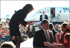 Republican vice presidential candidate Alaska Gov. Sarah Palin signs autographs for the crowd at Great Southwest Aviation in Roswell, New Mexico on Sunday, Oct. 19, 2008.  (AP Photo/Roswell Daily Record,  Mark Wilson)