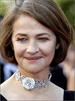 In this May 27, 2007 file photo, actress Charlotte Rampling arrives for the awards ceremony at the 60th International film festival in Cannes, southern France. Rampling and director Wong Kar-wai will receive awards for their contributions to modern cinema at the Stockholm International Film Festival. The festival opens in Stockholm on Nov. 20. (AP Photo/Virginia Mayo, file)