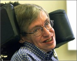 British mathematician, astrophysicist (cosmologist) Stephen W. Hawking smiles during a news conference at the University of Potsdam, near Berlin, Germany, in this Wednesday, July 21, 1999 file photo. Cambridge University  confirmed on Friday Oct. 24, 2008  that Hawking would retire as Lucasian Professor of Mathematics, a title once held by Isaac Newton, at the end of the academic year in September. He will take the title of Emeritus Lucasian Professor of Mathematics. University policy is that officeholders must retire at the end of the academic year in which they become 67. Hawking will reach that milestone on Jan. 8. (AP Photo/Markus Schreiber, FILE)