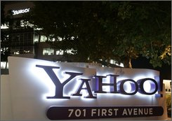 Exterior view of Yahoo headquarters in Sunnyvale, Calif., Monday, Oct. 20, 2008. Yahoo Inc.'s management will be on the hot seat again Tuesday when the embattled Internet pioneer is scheduled to release its third-quarter earnings after the market close. (AP Photo/Paul Sakuma)