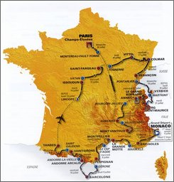 This map provided Wednesday Oct. 22, 2008 by Amaury Sport Organisation (ASO) shows the route of the 2009 Tour de France. The 2009 Tour de France will have a tough mountain stage on its penultimate day in a tradition-busting innovation that could complicate Lance Armstrong's possible return. (AP Photo/ASO)