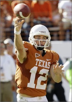 Texas quarterback Colt McCoy throws a pass against Oklahoma State during the second quarter of their NCAA collge football game in Austin, Texas, Saturday, Oct. 25, 2008. (AP Photo/Eric Gay)