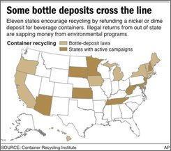 Graphic shows states with bottle deposit laws and those with active campaigns; two sizes;