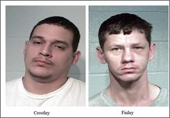 These photos released by the Lamar County Sheriff's Office show Charles Costley, left, and Shannon Finley, both 27, who face murder charges in the dragging death of Brandon McClelland in Lamar County, Texas. His torn-apart body was found on a rural Texas road on Sept. 16, 2008. (AP Photo/Lamar County Sheriff's Office)