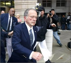 Sen. Ted Stevens, R-Alaska leaves federal court in Washington, Monday, Oct. 27, 2008, after a guilty verdict was returned by the jury at his trial. (AP Photo/Gerald Herbert)