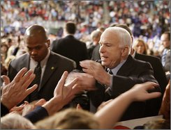 Republican presidential candidate Sen. John McCain, R-Ariz. greets supporters as he walks a rope line at the conclusion of a campaign rally in Hershey, Pa, Tuesday, Oct. 28, 2008. (AP Photo/Stephan Savoia)