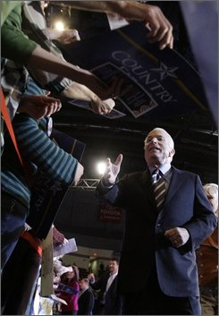 Republican presidential candidate Sen. John McCain, R-Ariz. greets supporters as he leaves a rally at the Giant Center in Hershey, Pa., Tuesday, Oct. 28, 2008. (AP Photo/Carolyn Kaster)
