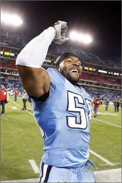 Tennessee Titans linebacker David Thornton celebrates after beating the Indianapolis Colts 31-21 in an NFL football game in Nashville, Tenn., Monday, Oct. 27, 2008. (AP Photo/Bill Waugh)
