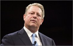 Former Vice President and Nobel Peace Prize winner Al Gore speaks at the Iowa Democratic Party's Jefferson-Jackson Dinner in Des Moines, Iowa, in this Saturday, Oct. 4, 2008 file photo. Gore returned to his alma mater to help Harvard University launch its first Sustainability Celebration and commitment to reduce its carbon footprint Wednesday Oct. 22, 2008.(AP Photo/Kevin Sanders, FILE)