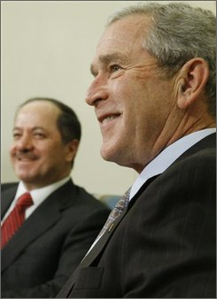 President Bush meets with Iraq's Kurdistan region President Massoud Barzani in the Oval Office of the White House in Washington, Wednesday, Oct. 29, 2008. (AP Photo/Charles Dharapak)
