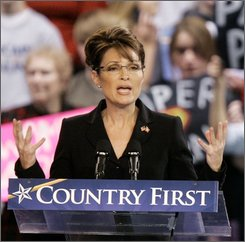 Republican vice presidential candidate, Alaska Gov. Sarah Palin speaks at a rally at Bowling Green University in Bowling  Green, Ohio, Wednesday, Oct. 29, 2008. (AP Photo/Amy Sancetta)