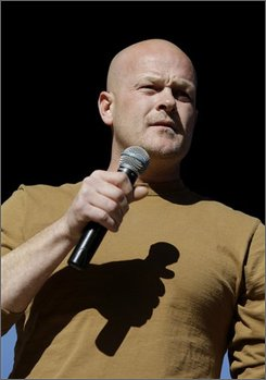 "Samuel ""Joe The Plumber"" Wurzelbacher speaks at a rally for Republican presidential candidate Sen. John McCain, R-Ariz. at a Town Square Stop in Washington Park in Sandusky, Ohio, Thursday, Oct. 30, 2008. (AP Photo/Carolyn Kaster)"