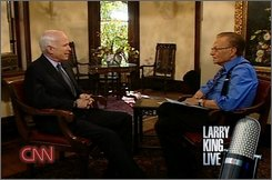 Republican presidential candidate Sen. John McCain, R-Ariz., left, speaks with talk show host Larry King during taping of CNN's Larry King Live show, Wednesday Oct. 29, 2008 at the University of Tampa in Tampa, Fla. (AP Photo/CNN)