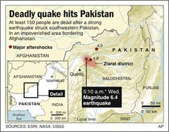 UPDATES toll; ADDS time info and aftershock details; Map locates epicenter of a strong earthquake in Pakistan; two sizes; 1c x 4 inches; 46.5 mm x 101.6 mm; 2c x 2 7/8 inches; 96.3 mm x 73 mm