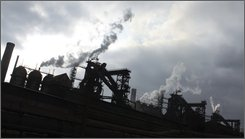 A steel factory is seen in  Mariupol, southeast of Kiev, Ukraine, Thursday, Oct. 30, 2008. The metal industry, which accounts to 40 percent of Ukraine's exports, suffered tremendously from the global economic crisis on a fall of global demand. (AP Photo/Dmytro Vlasov)