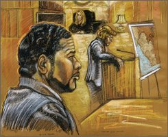 Former Liberian President Charles Taylor's son, Charles McArthur Emmanuel, is shown in a courtroom drawing by Shirley Henderson,Sept. 29, 2008 in Miami. Taylor was convicted Thursday Oct. 30, 2008, of torture and conspiracy. He faces life in prison. The trial marks the first test of a 1994 law that makes it a crime for a U.S. citizen to commit torture overseas. Federal prosecutor Caroline Heck Miller, center, and U.S. District Judge Cecilia Altonaga, rear, are also shown.   (AP Photo/Shirley Henderson)