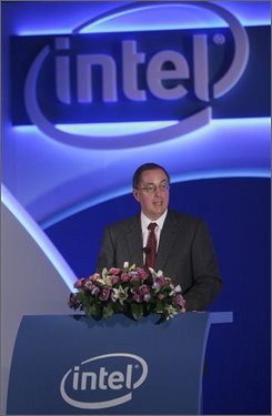 Intel Corp. CEO Paul Otellini announces that Intel has signed an agreement with Taiwan's Ministry of Economic Affairs to jointly provide support for open source software and applications designed for Intel's new Atom processor-based devices in Taipei Taiwan, Thursday, Oct. 30, 2008. Otellini also announced Intel's multi-million dollar investment in start up of Taiwan's WiMax high speed mobile network. (AP Photo/Wally Santana)