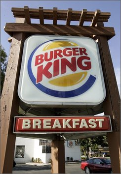 Exterior view of Burger King restaurant in San Jose, Calif., Wednesday, Oct. 29, 2008. Burger King said Friday, its fiscal first-quarter profit climbed 2 percent on a boost in sales but missed Wall Street's expectations because of higher expenses. (AP Photo/Paul Sakuma)