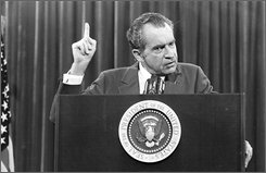 In this Saturday, Nov. 17, 1973 file photo, President Richard Nixon speaks near Orlando, Fla. It will be 35 years next week since President Richard Nixon, responding to an Arab oil embargo, vowed to make the United States energy independent- and do it in seven years. America is still waiting.  (AP Photo)