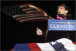 Republican vice presidential candidate, Sarah Palin, R-Alaska, speaks at a rally at Bowman Field in Williamsport, Pa., Thursday evening, Oct. 30, 2008. (AP Photo/Bloomsburg Press Enterprise, Jimmy May)