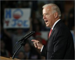 Democratic vice-presidential candidate, Sen. Joe Biden, D-Del. speaks at a campaign rally, Thursday, Oct. 30, 2008, at Fox high school in Arnold, Mo.(AP Photo/Tom Gannam)