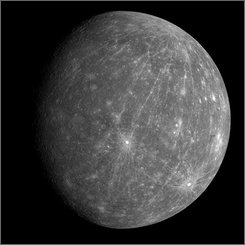 This image provided by NASA shows an image of Mercury captured by the MESSENGER spacecraft on the probe's second approach to Mercury Oct. 6, 2008. The probe flew by Mercury for the second time this year, en route to becoming the first spacecraft to orbit the innermost planet starting in 2011, using the planet?s gravity for a critical assist needed to keep the spacecraft on track for its orbit insertion. The MESSENGER data from this secong flyby provide the only data to date from the planet?s western hemisphere and are therefore key to constraining the geometry of the planet?s internal magnetic field. (AP Photo/NASA)