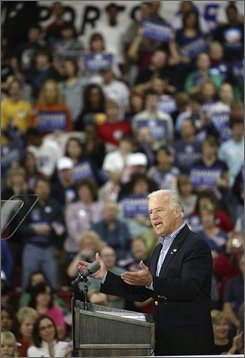 Democratic vice presidential candidate, Sen. Joe Biden, D-Del. speaks at a campaign rally,?Saturday, Oct. 31, 2008, at Marion Harding High School in Marion, Ohio. (AP Photo/Bruce Boyajian)