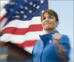 Republican vice presidential candidate, Alaska Gov. Sarah Palin, attends a rally at the West Port High School in Ocala, Fla., Saturday, Nov.1, 2008. (AP Photo/Phil Sandlin)