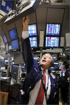 Trader Warren Meyers is seen on the floor of New York Stock Exchange, Wednesday Oct. 29, 2008. (AP Photo/Richard Drew)
