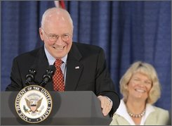 Vice President Dick Cheney speaks during a campaign rally for the Republican Party at Laramie High School in Laramie, Wyo. on Saturday, Nov. 1, 2008. Cheney campaigned in Wyoming on Saturday for three Republicans running for the House and Senate in his home state. (AP Photo/Laramie Daily Boomerang, Ben Woloszyn)
