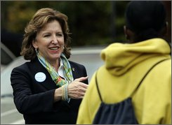 Democratic Senate candidate Kay Hagan greets voters during a campaign stop at Vandalia Presbyterian Church in Greensboro, N.C., Tuesday, Nov. 4, 2008. (AP Photo/Gerry Broome)
