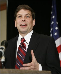 U.S. Democratic Senate candidate Mark Begich says the race between him and Sen. Ted Stevens, R-Alaska is too close to call during a news conference in Anchorage, Alaska. Stevens presently leads Begich in the vote tally.  (AP Photo/Al Grillo)