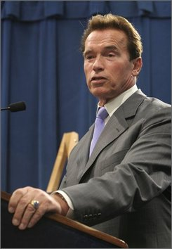 Gov. Arnold Schwarzenegger discusses his proposed 1.5 percent sales tax increase during a Capitol news conference in Sacramento, Calif., Thursday, Nov. 6, 2008. Schwarzenegger proposed the sales tax increase, along with cuts to the current state budget,  to help deal with California's fiscal crisis, which has created an $11.2 billion deficit.(AP Photo/Rich Pedroncelli)