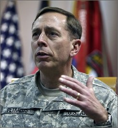 U.S. Central Command Gen. David Petraeus speaks during an interview at a U.S. military base in Bagram north of Kabul, Afghanistan, Thursday, Nov. 6, 2008. A series of U.S. missile strikes in Pakistan's tribal areas in recent months has killed three of the top 20 extremist leaders there, causing a blow to insurgents threatening the nuclear-armed Pakistan's very existence, the top U.S. general in the region said Wednesday. (AP Photo/Rafiq Maqbool)