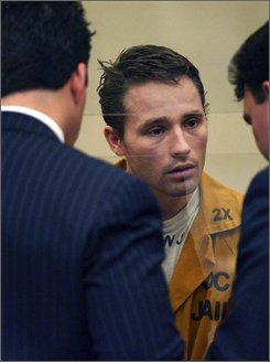 In this Friday, Mar. 4, 2005, file photo, Skylar Deleon, appears at his arraignment in Orange County Superior Court, in Newport Beach, Calif. A jury has recommended death on Thursday Nov .6,2008 for a Long Beach man convicted of murdering the owners of a yacht by binding them to an anchor and throwing them out to sea. Tom and Jackie Hawks were thrown from their yacht in 2004 during a cruise to show the vessel to Deleon, whom they believed was a prospective buyer. (AP Photo/Phil McCarten, File)