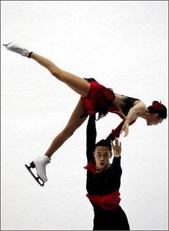 Chinese skaters Dan Zhang and Hao Zhang perform during the free skating program competition at the ISU Grand Prix Figure Skating China Cup 2008 in Beijing , China, Friday, Nov.7, 2008. (AP Photo/ Elizabeth Dalziel)