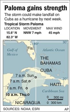 Graphic shows the projected path of Tropical Storm Paloma;