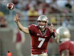 Florida State quarterback Christian Ponder throws a third-quarter pass during an NCAA college football game against Clemson, Saturday, Nov. 8, 2008, in Tallahassee, Fla.  Florida State won 41-27.(AP Photo/Phil Coale)