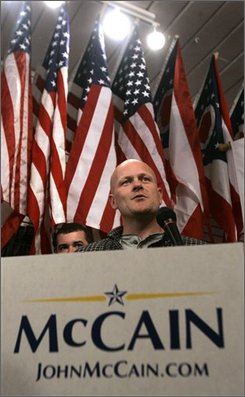 "Joe Wurzelbacher, or as Republican presidential candidate Sen. John McCain dubbed him during the last presidential debate, ""Joe The Pumber"", speaks as former White House Budget Director, Rob Portman, not shown, kicks off the Ohio ""Joe the Plumber"" bus tour to campaign with him for Republican presidential candidate, Sen. John McCain, R-Ariz., Tuesday, Oct. 28, 2008, in Columbus, Ohio.  (AP Photo/Kiichiro Sato)"