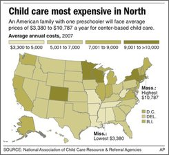 ADVANCE FOR WEEKEND EDITIONS; graphic shows the average annual child care costs for a preschooler by state; includes states with largest increase between 2006 and 2007; three sizes;