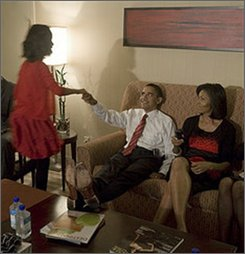 In this photograph released by President-elect Obama, then Democratic presidential candidate Barack Obama and his family are seen Wednesday, Nov. 5, 2008 in Chicago.  (AP Photo/Obama for America, David Katz)