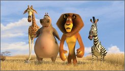 "In this image released by Paramount Pictures, Melman the giraffe, voiced by David Schwimmer, left,  Gloria the hippo, voiced by Jada Pinkett Smith, second left, Alex the lion, voiced by Ben Stiller and  Marty the zebra voiced by Chris Rock, right, are shown in a scene from the DreamWorks production ""Madagascar"