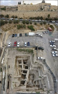 This undated photo made available by the Israeli Antiquities Authority on Monday, Nov. 10, 2008 shows the excavation site beneath a parking lot next to the walls of Jerusalem's old city where archaeologists say they have discovered 2,000-year-old gold earring. The Israel Antiquities Authority says the earring is inlaid with pearls and emeralds and was made around the time of Christ, between the first century B.C. and the beginning of the fourth century A.D.(AP Photo/IAA, HO)